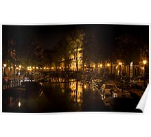 Amsterdam night: lights and canal Poster