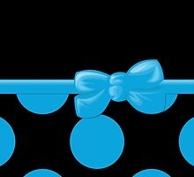 Polka Dots, Ribbon and Bow, Black Blue  by sitnica