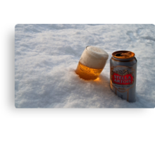 Beer in the snow Canvas Print