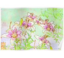 Pink And White Lilies - Digital Watercolor  Poster