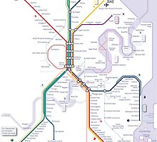 Brisbane and Gold Coast Train, Tram and Ferry map by Railmaps