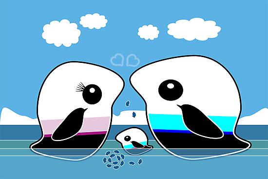 Paradise Penguin Family by migaloomagic