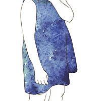 Little girl in a watercolor dress by OlgaBerlet