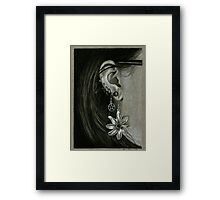 Punk Piercings, Black and White girl with earings Framed Print