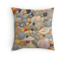 Pebbles and Shells Throw Pillow