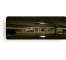 Underground Car Parking Facility at Night Canvas Print