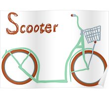 Illustration of vintage vector scooter Poster