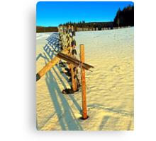 Leading fence line in winter wonderland | landscape photography Canvas Print