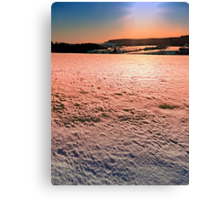 Snow, fields and a winter sunset | landscape photography Canvas Print