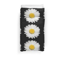 Nine Common Daisies Isolated on A Black Backgound Duvet Cover
