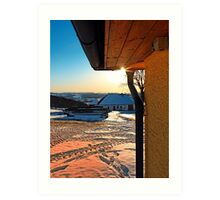 Sunny winter afternoon at the farm | landscape photography Art Print