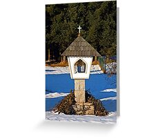 Wayside shrine in winter scenery | architectural photography Greeting Card