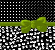 Ribbon, Bow, Dog Paws, Polka Dots - White Black Green by sitnica