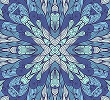 Blue hand drawn floral ornament by Patternalized