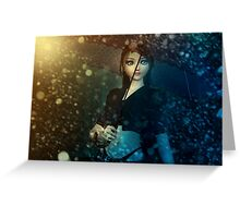 Girl in snowstorm Greeting Card