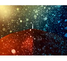 Red umbrella in snowstorm Photographic Print