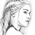 DAENERYS GAME OF THRONES PEN & INK DRAWING by LouLouD123