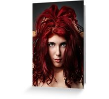 Glamour close-up of sexy redhead young woman Greeting Card