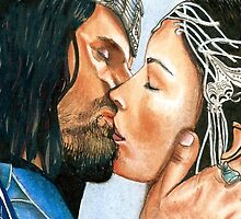 ARWEN & ARAGORN KISS LORD OF THE RINGS by LouLouD123