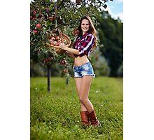 Beautiful woman picking apples Photographic Print