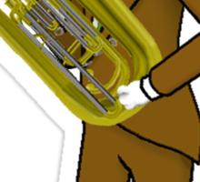 Male Cat playing Tuba Sticker