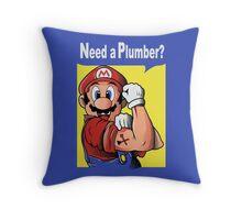 NEED A PLUMBER? MARIO VERSION Throw Pillow