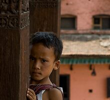 Young boy in Bhaktapur (Nepal) by Olivier Lance