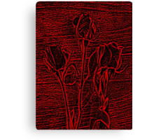 Roses in Red and Black Textured Digitally Enhanced Photograph Art Canvas Print