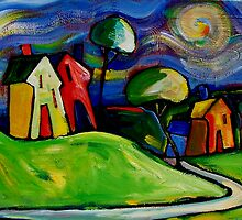 FARMHOUSES IN THE APPLE COLOURED FIELDS. by ART PRINTS ONLINE         by artist SARA  CATENA