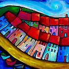 HOUSES ON THE HILLSIDE - CINQUE TERRE - ITALY. by ART PRINTS ONLINE         by artist SARA  CATENA