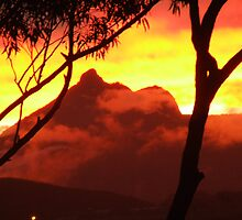 Mt Warning at fiery sunset by Cathie Sherwood