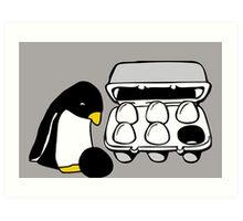 LINUX TUX PENGUIN EGG BOX BLACK EGG Art Print