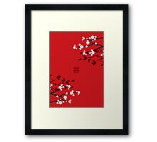 White Sakuras on Red and Double Happiness Framed Print