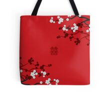 White Sakuras on Red and Double Happiness Tote Bag