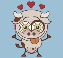 Cute cow falling madly in love Kids Clothes