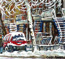 MONTREAL SNOWSTORM WINTER STREET SCENE PAINTING by Carole  Spandau