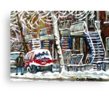 MONTREAL SNOWSTORM WINTER STREET SCENE PAINTING Canvas Print