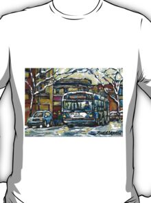 MONTREAL WINTER SCENE WAITING FOR THE 80 BUS T-Shirt