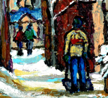 SHOVELLING AFTER THE SNOWSTORM MONTREAL CITY SCENE Sticker