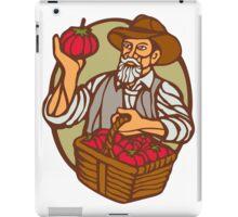 Organic Farmer Tomato Basket Woodcut Linocut iPad Case/Skin