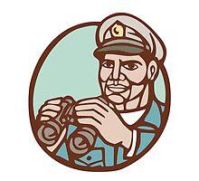 Navy Admiral Binoculars Circle Linocut by patrimonio