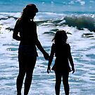 Mother & Daughter Beach Silhouette by Michael Mill