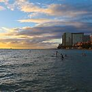 Sunset on Waikiki by Barbara  Brown