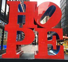 HOPE Sculpture, Seventh Avenue, New York City by lenspiro