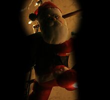 Santa Claus Climbing Chimney Silhouette by Christine Till  @    CT-Graphics