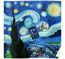Tardis Flying Starry Night Poster