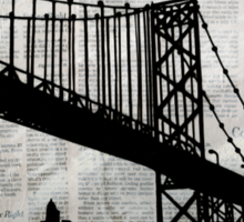 News Feed , Newspaper Bridge Collage, night silhouette cityscape news paper cutout, black and white paper city print illustration  Sticker