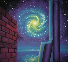 Alien dreamscape with galaxy column and wall by Corina Chirila