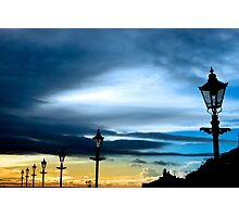 row of vintage lamps and lighthouse Photographic Print