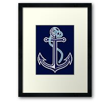 White and blue anchor with rope Framed Print